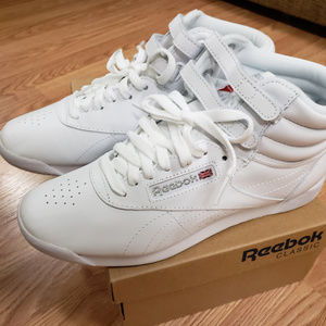 Reebok Freestyle Hi White/Silver Classic 8.5
